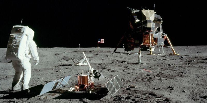 Buzz Aldrin at work on the Moon