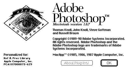 Adobe Photoshop 1.0.7 About dialog (source: https://computerhistory.org/blog/adobe-photoshop-source-code/)